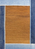 Jeans strips at wood — Stock Photo
