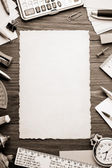 Office supplies and aged paper — Stock Photo