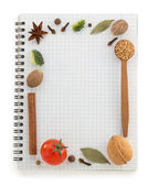 Food ingredients and recipe book  — Stock Photo
