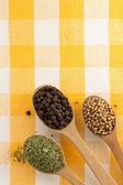 Food ingredients and spices on napkin  — Stock Photo