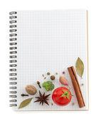 Ingredientes alimentares e livro de receitas — Foto Stock