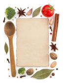 Food ingredients and parchment — Stock Photo