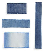 Jeans blue texture on white  — Stock Photo