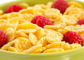 Corn cereals and raspberry — Stock Photo