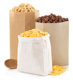 Cereal corn mix in paper bag — Stock Photo