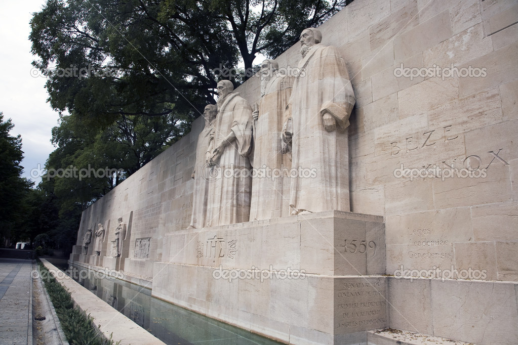 The four reformists commemorated on a wall in Parc Des Bastions in Geneva, Switzerland.  Depicted are William Farel, John Calvin, Theodore de Beze and John Knox.  These statues are more than 15 feet high each.  Stock Photo #12145109