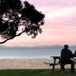 Stock Photo: Young couple enjoys the sunset