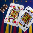 Playing Cards & Dice in Casino — Stock Photo
