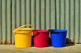 Three colorful bucket — Stock Photo