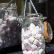 Stock Photo: Marshmallow in glass jar