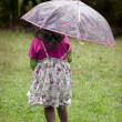 Little girl holds umbrella — Foto de Stock