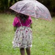 Little girl holds umbrella — Stock Photo