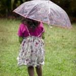 Little girl holds umbrella — Stock Photo #14435921