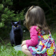 Little girl plays with a cat — Stockfoto
