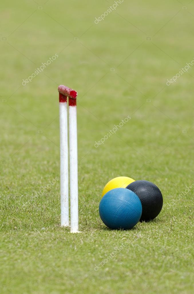 Croquet balls and playing tools in a club. — Stock Photo #16276877