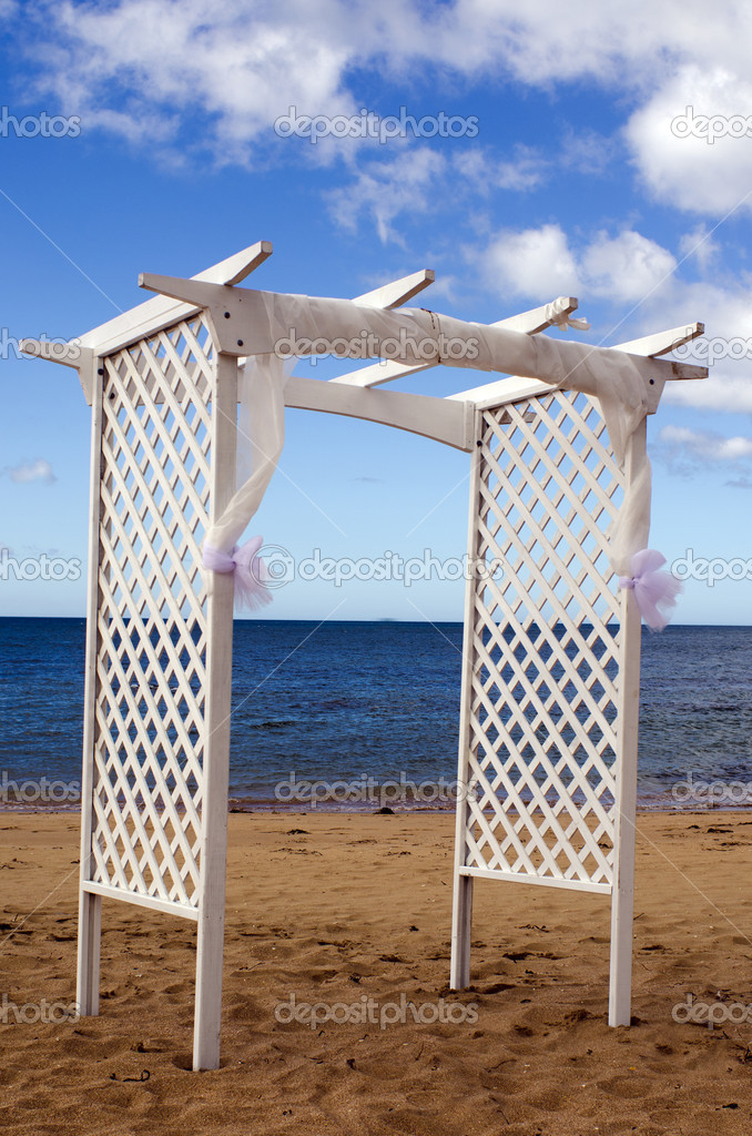 Empty wedding canopy on the beach of an Island.  Stock Photo #16276915