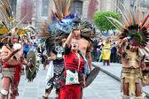 Aztec folklore in Zocalo Square, Mexico City — Stock Photo