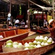 The Floating Market in Bangkok - Thailand - Stock Photo