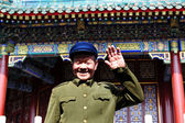 Chinese man wearing Mao Tzetung suite and hat in Beijing China — Stock Photo