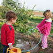 Israeli Children Celebrating Tu Bishvat Jewish Holiday Food  — Foto Stock