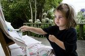 Barn målar — Stockfoto