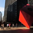 TraNoguchi's Red Cube in Manhattan New York - Stock Photo