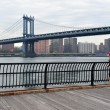 Manhattan Bridge in Manhattan New York - Stock Photo