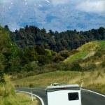 Auto-camper on the move — Stock Photo