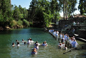 Baptism ceremony at the Jordan River — Stock Photo