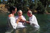 Ceremonia chrztu w rzece jordan — Zdjęcie stockowe