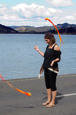 Woman perform Poi — Stock Photo