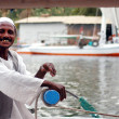 Felucca sailor sails on the Nile river  — Stock Photo