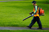 Landscaper operating petrol Leaf Blower — Stock Photo