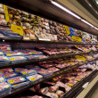 Meat on shelves in supermarket — Foto Stock