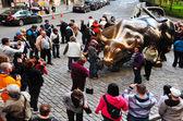 Wall Street Charging Bull — Stock Photo