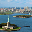 Stock Photo: Aerial view of the Statue of Liberty and Ellis Island