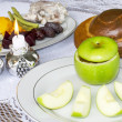 Rosh Hashanah Jewish Holiday Seder Table — Stock Photo #30932965