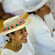 Cook Islander woman wearing Rito hat — Stock Photo