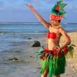 Young Polynesian Pacific Island Tahitian Woman Dancer — Stock Photo