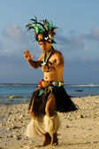 Young Polynesian Pacific Island Tahitian Man Dancer — Stock Photo