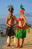 Young Polynesian Pacific Island Tahitian Dancers Couple — Stock Photo
