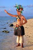 Young Polynesian Pacific Island Tahitian Man Dancer — Stock Photo
