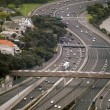 Aerial view of traffic on Auckland inner city road — Stock Photo