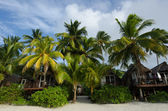 Beach Bungalows on Polynesian tropical Island — Stock Photo