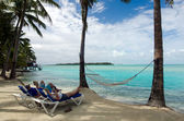 Visitors on Aitutaki Lagoon Cook Islands — Foto Stock