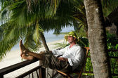 Man relax during travel vacation on tropical island — Stock Photo