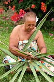 Portrait of Polynesian Pacific Island Tahitian mature woman — Stock Photo