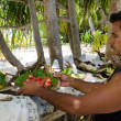 Tropical food served outdoor in Aitutaki Lagoon Cook Islands — Stock Photo