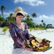 Tropical food on deserted tropical island  — ストック写真