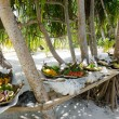Stock Photo: Tropical food served outdoor in Aitutaki Lagoon Cook Islands